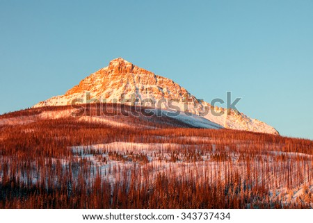 A morning view of the east face of Kupunkamint Mountain at Glacier National Park in Montana. - stock photo