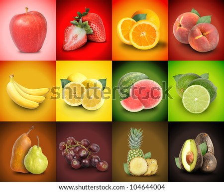 A mosaic variety of colorful fruit squares. There are strawberries, bananas, grapes, peaches, watermelon and more. Use it for an ingredient food concept or background decoration. - stock photo
