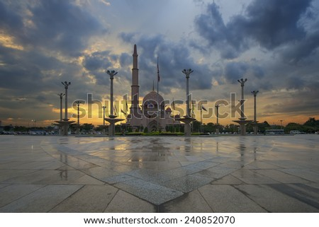 A mosque after the rain during sunset