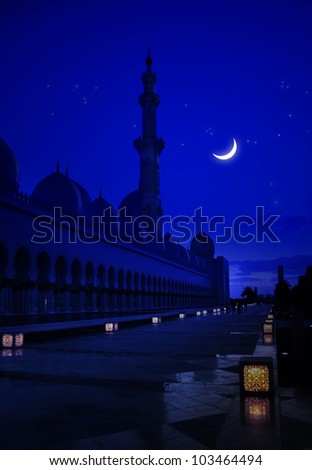 A mosque in the moonlight - stock photo