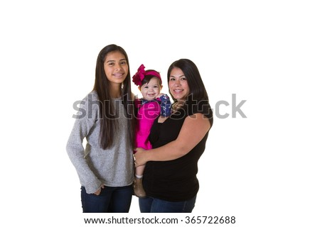 A mother and her 2 children isolated on white - stock photo