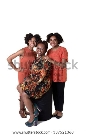 A mother and her 2 daughters isolated