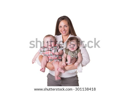 A mother and her fraternal boy/girl twins isolated - stock photo