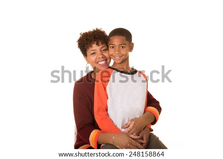 A mother and her son - stock photo