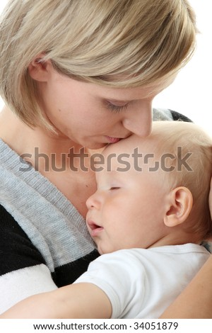 A mother and her tired cute baby boy isolated on white background