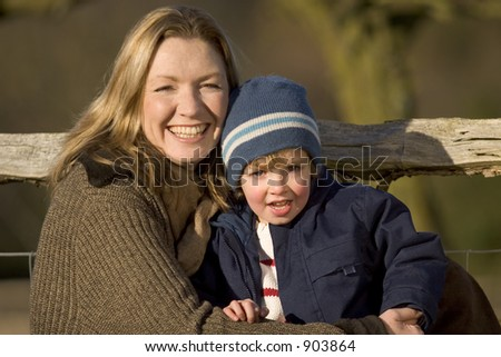 A mother and her young son in the English countryside