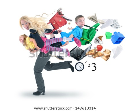 A mother is late for school and work while rushing with her children for a funny stress concept on a white isolated background. There are objects flying away from them. - stock photo