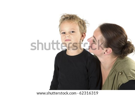 A mother is telling her son something.