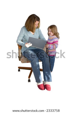 a mother showing her child something on the computer