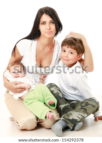A mother with a son and a baby - on white background - stock photo