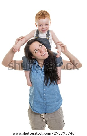 a mother with is redhead baby boy portrait over a isolated white background - stock photo