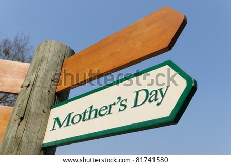 A motivational green and white wooden signpost pointing towards mother's day on sunny blue sky - stock photo
