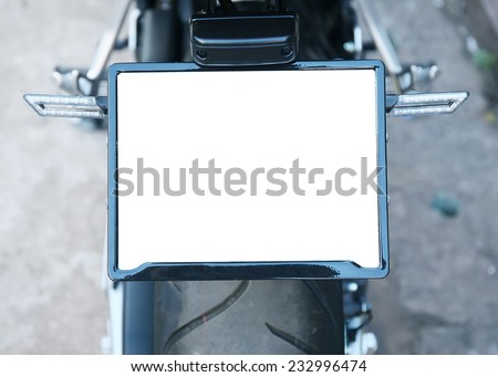 A motorcycle license plate