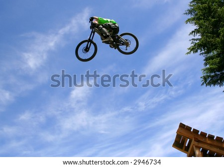 A mountain biker takes off during a contest in Whistler, BC.