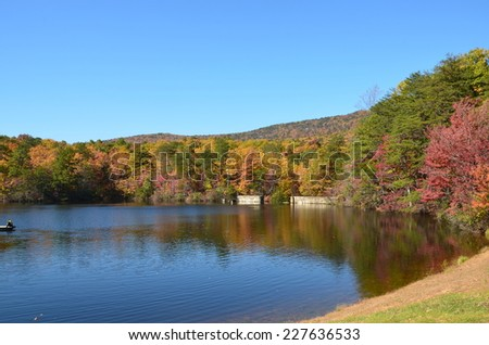 A mountain lake in the fall of the year. Located in North Carolina