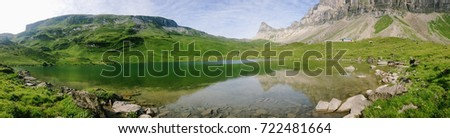 A mountain lake in the Swiss Alps in summer
