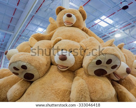 A mountain of giant teddy bears - stock photo