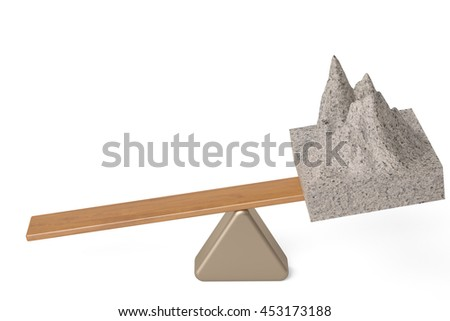 A mountain  on the seesaw,3D illustration. - stock photo