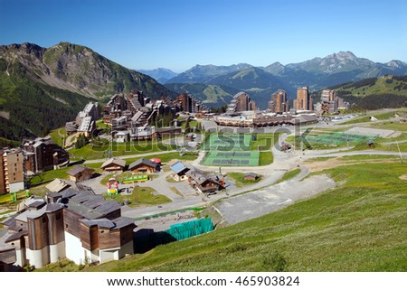 A mountain resort in european Alps, Avoriaz, France