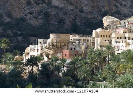 A mountain village in sultanate Oman - stock photo