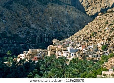 A mountain village , sultanate Oman - stock photo