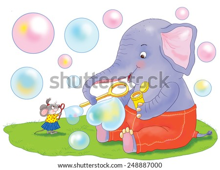 A mouse and an elephant blowing heart-shaped soap bubbles. greeting card. Illustration for children - stock photo