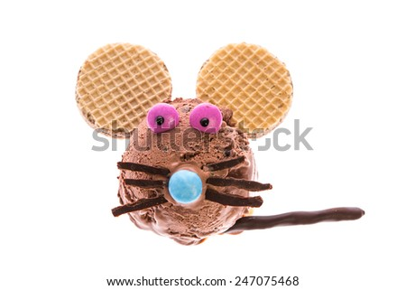 A mouse made out of ice cream - stock photo