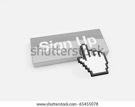 A mouse pointer hovering over a button with the words Sign Up printed on its face - stock photo