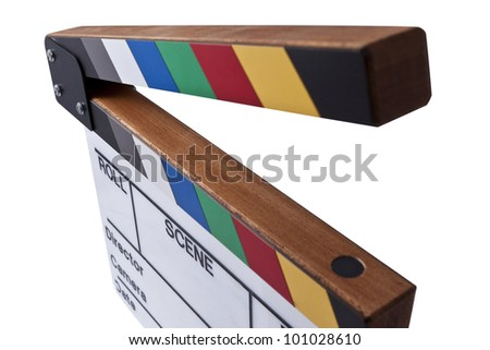 a movie color clapperboard - stock photo