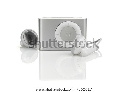 a mp3  with earphones isolated in white background - stock photo