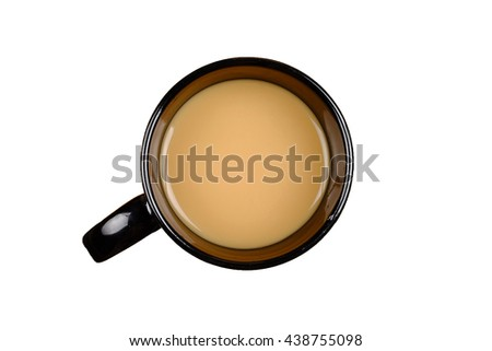 A mug of hot nescafe over white background. - stock photo