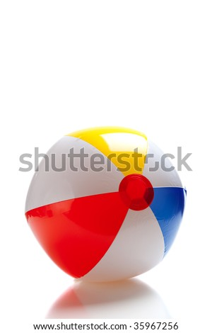 A multi-colored beach ball on a white background