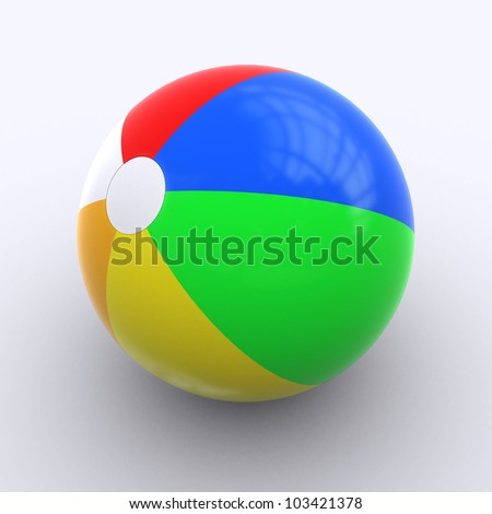A multi-colored Beachball on white Background - stock photo