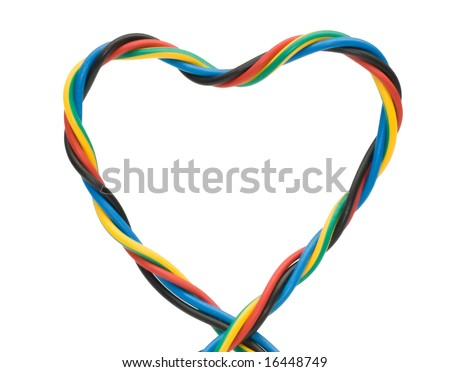 a multi colored computer cable , heart shape - stock photo