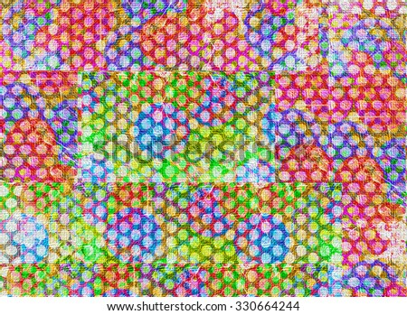 A multicolored blocky abstract of spots on a textured canvas