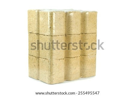 A multipack of compressed sawdust briquettes heating fuel on a white background