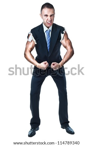 a muscular businessman flexing his arms wearing a sleeveless suit - stock photo