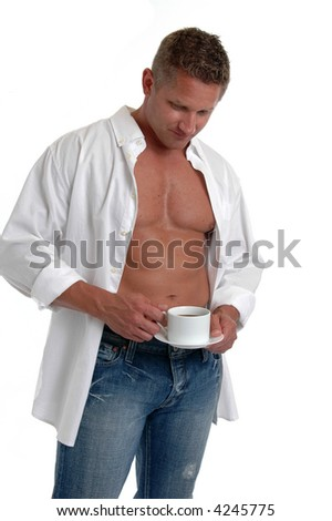 A muscular man in an open shirt drinking a cup of coffee