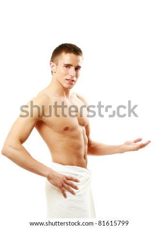 A muscular man is holding hand like presenting something, isolated on white