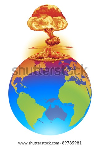 A mushroom cloud explosion on the world globe. Concept global disaster, catastrophe, end of the world etc.