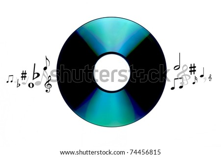 A music compact disc isolated against a white background - stock photo