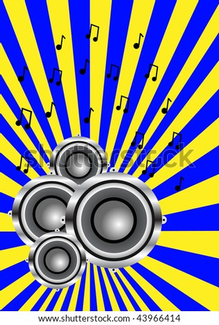 A musical illustration with a group of audio speakers on a blue and yellow sunburst background with dancers in silhouette