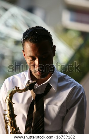a musician takes a break for a moment - stock photo