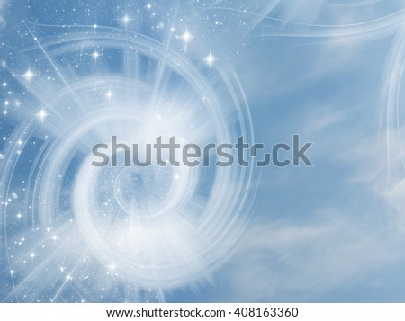 a mystical magic background with a whirl of light and stars - stock photo