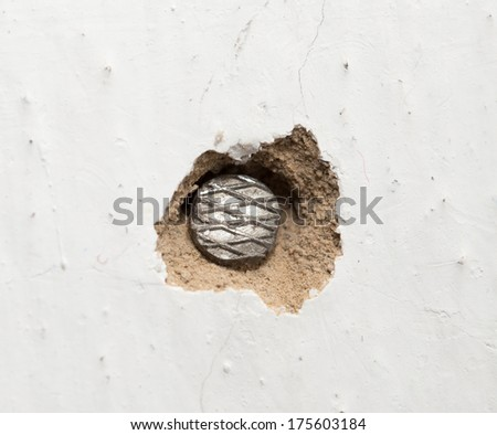 a nail in the wall. macro - stock photo