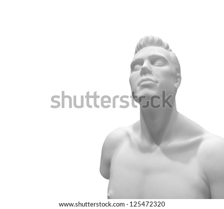 A naked male fashion mannequin dummy isolated against white. - stock photo