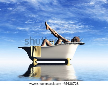 a  naked woman bathes in  the bath - stock photo
