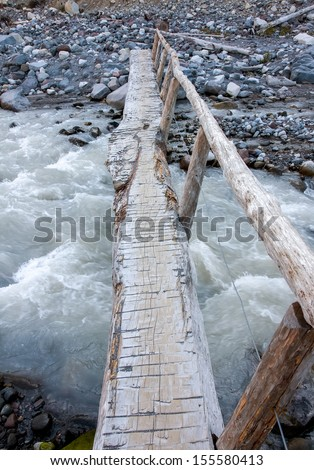 A narrow log is set up as a foot bridge over the rushing water of the Nisqually River at Mount Rainier National Park.