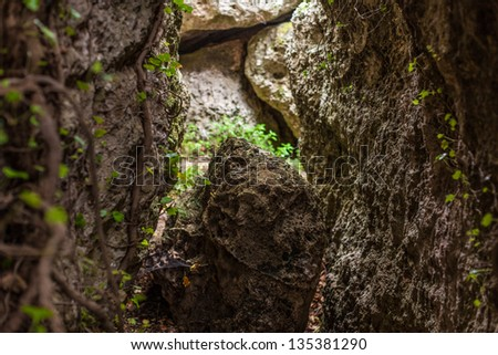 a narrow passage between boulders in a tropical forest - stock photo