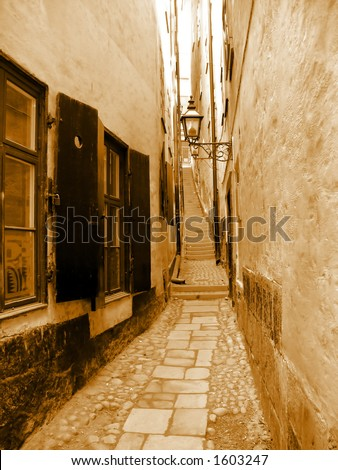 A narrow street between houses